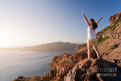 Happy Woman On The Rock With Hands Up Art Print by Michal Bednarek
