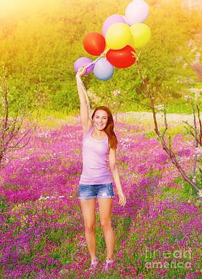Happy Woman With Colorful Balloons Art Print by Anna Om
