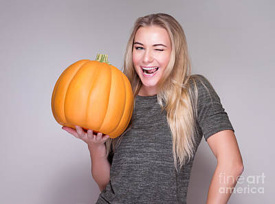 Photograph - Happy Woman With Pumpkin by Anna Om