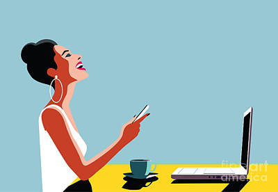 Computer Wall Art - Digital Art - Happy Young Beautiful Woman Using by Ralwel