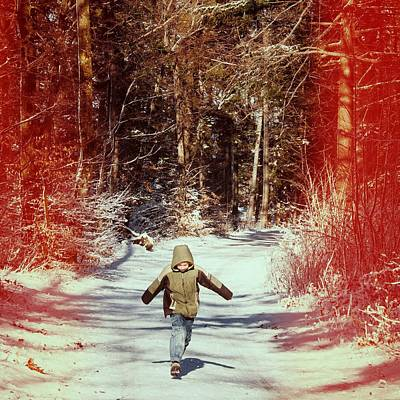 Time Photograph - Happy Young Boy Running In The Winterly Forest by Matthias Hauser