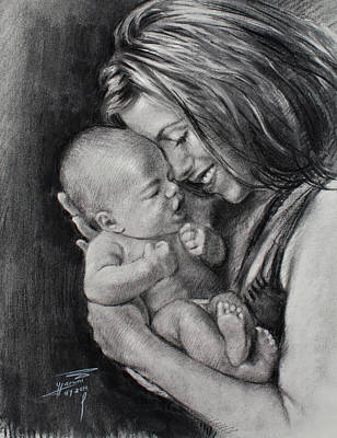 Mother And Baby Drawing - Happy Young Mother by Ylli Haruni