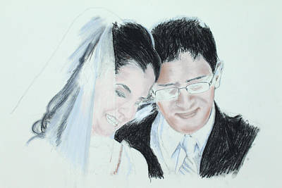 Drawing - Happyness Forever - Step 2 by Miguel Rodriguez