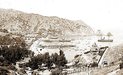 Harbor And Avalon Greek Theater, Avalon, Catalina Island Art Print by Litz Collection