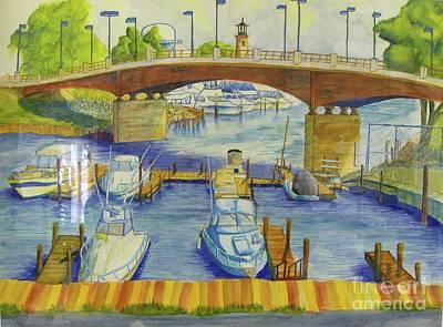 Docking Painting - Harbor And Bridge Kenosha Wisconsin  by Kenneth Michur