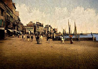 Horse And Buggy Painting - Harbor And Caligny Quay by John K Woodruff