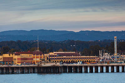 Central Coast Photograph - Harbor And Municipal Wharf At Dusk by Panoramic Images