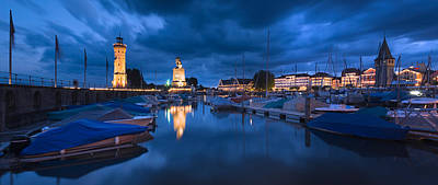Lake Constance Photograph - Harbor At Dusk, Lindau, Lake Constance by Panoramic Images
