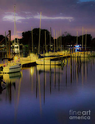 Harbor At Night Art Print