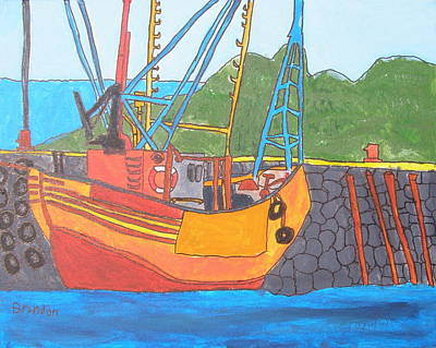 Drucker Painting - Harbor Boat by Artists With Autism Inc