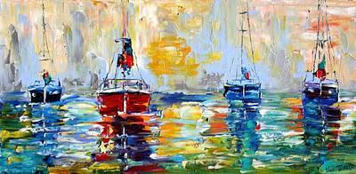 Harbor Boats At Sunrise Print by Karen Tarlton