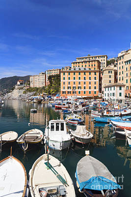 harbor in Camogli - Italy Art Print