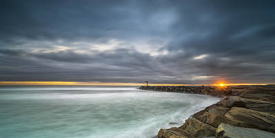 Stunning Photograph - Harbor Jetty Sunset - Pano by Larry Marshall
