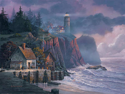 Lighthouse Wall Art - Painting - Harbor Light Hideaway by Michael Humphries