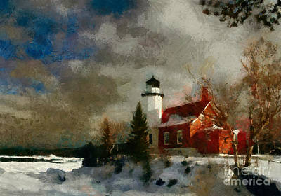 New Years Royalty Free Images - Harbor Light House Royalty-Free Image by Scott Bennett