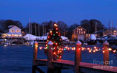 Photograph - Harbor Lights Christmas Style by Butch Lombardi