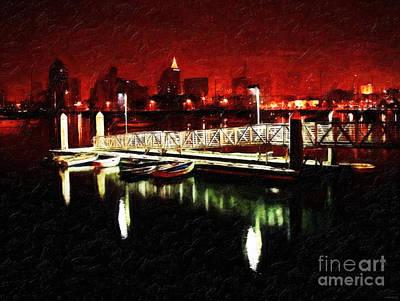 Night Fishing Digital Art - Harbor Lights by Lianne Schneider
