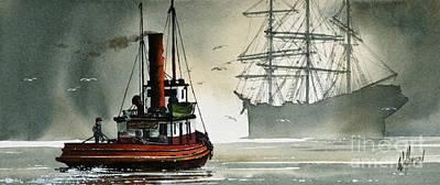 Tugboat Wall Art - Painting - Harbor Night by James Williamson