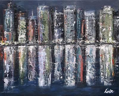 Painting - Harbor Night Lights by Joseph Love
