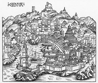 Harbor Of Genoa, 1493 Art Print by Granger