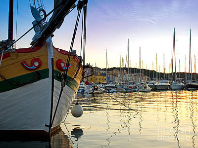Blue Pirate Ships Landscape Photograph - Harbor Of Losinj by Sinisa Botas