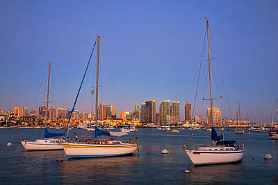 San Diego Bay Photograph - Harbor Sailboats by Peter Tellone