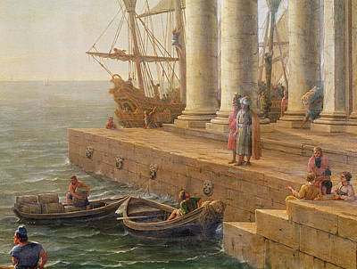 Loading Docks Painting - Harbor Scene by Claude Lorrain
