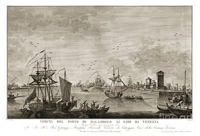 Harbor Drawing - harbor scene in Venice - 1780 by Pablo Romero