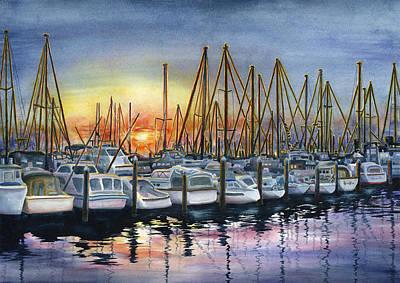 Santa Barbara Painting - Harbor Sunset by Karen Wright