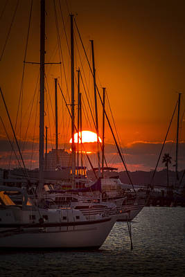 Sail Boat Photograph - Harbor Sunset by Marvin Spates