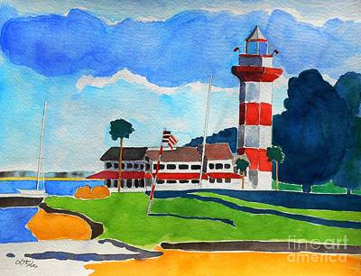 Head Harbour Lighthouse Painting - Harbour Town 18th Noon Sc by Lesley Giles