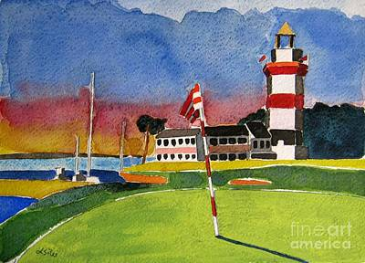 Lighthouse Painting - Harbour Town 18th Sc by Lesley Giles