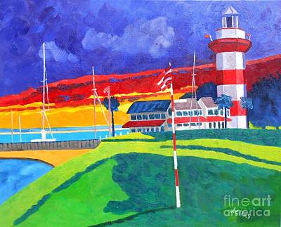 Head Harbour Lighthouse Painting - Harbour Town 18th Sc Sunset by Lesley Giles