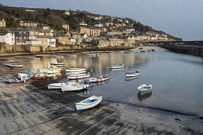 Mousehole Photograph - Harbour Fishing Village Digital Painting by Matthew Gibson