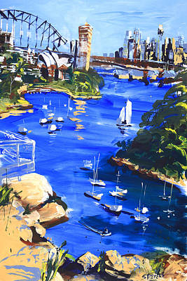 Shirley Painting - Harbour In Sun And Wind by Shirley  Peters