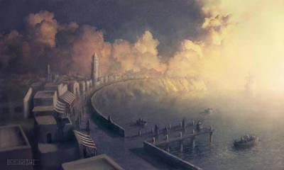 City Sunset Digital Art - Harbour by Itay Atrakchi