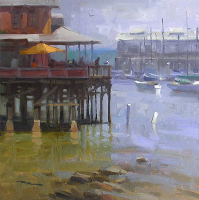 Monterey Wharf Painting - Harbour Light by Richard Robinson
