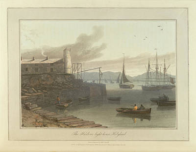 Cymru Photograph - Harbour Lighthouse At Holyhead Port by British Library