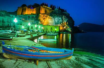 Lipari Photograph - Harbour Of Lipari At Night - Sicily by Martin Liebermann