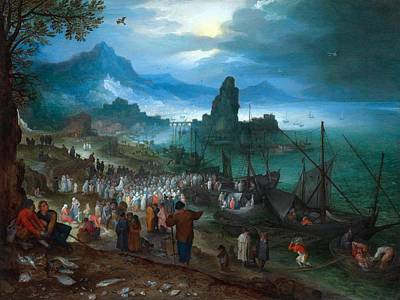 Netherlands Painting - Harbour Scene With Christ Preaching by Jan Brueghel the Elder