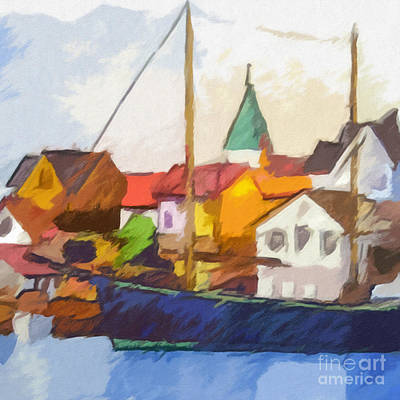 Fishing Village Painting - Harbour Seascape by Lutz Baar