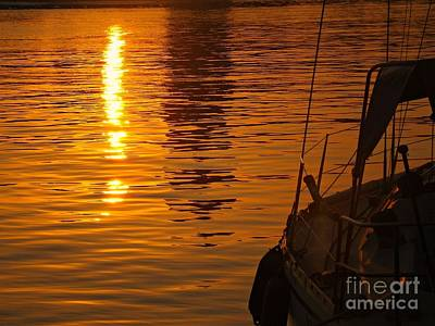 Art Print featuring the photograph Harbour Sunset by Clare Bevan