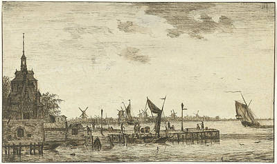 Old Mills Drawing - Harbour View Of The Old Hooft Rotterdam, The Netherlands by Hendrik Kobell