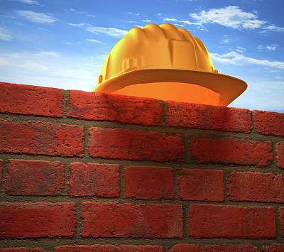 Hard Hats Photograph - Hard Hat On A Brick Wall by Ktsdesign