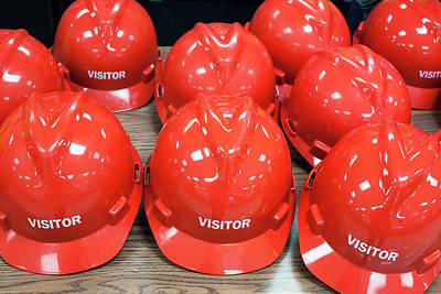 Hard Hats Photograph - Hard Hats For Visitors by Jim West