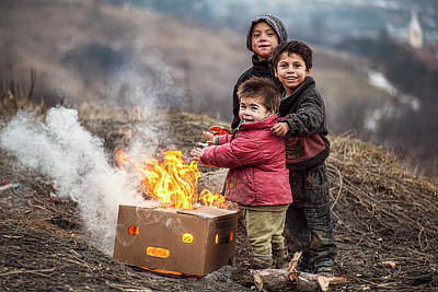 Fire Photograph - Hard Life But Smile On Their Faces! by Hamos Gyozo