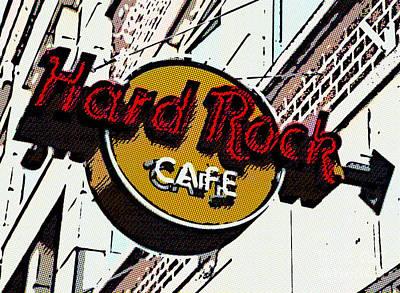 Digital Art - Hard Rock Cafe Halftoned by Liz Leyden