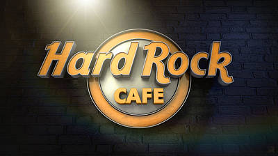 Neon Digital Art - Hard Rock Cafe Logo by Allan Swart