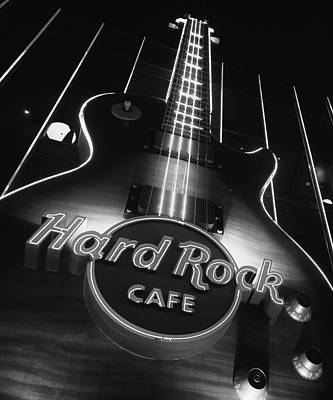 Hard Rock Cafe Vegas Black And White Print by Stephanie McDowell