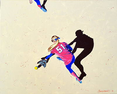 Softball Painting - Hard To The Right by Darrell Sheppard